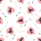 Άνευ ραφής σχέδιο με τα cupids και τις καρδιές Διανυσματικό υπόβαθρο αγάπης Στοκ Φωτογραφία