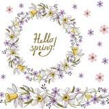 Άνευ ραφής σχέδιο με τα floral ρομαντικά στοιχεία Ατελείωτη σύσταση για το σχέδιο άνοιξης εποχής Λουλούδια ναρκίσσων απεικόνιση αποθεμάτων