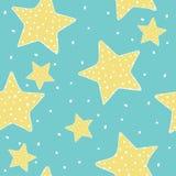 Άνευ ραφής σχέδιο με τα hand-drawn αστέρια Πέντε-δειγμένα αστέρια σε ένα μπλε υπόβαθρο Διανυσματική απεικόνιση στο ύφος σκίτσων απεικόνιση αποθεμάτων