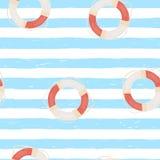 Άνευ ραφής σχέδιο με τα hand-drawn λωρίδες ναυτικών και το δαχτυλίδι ζωής Μπλε και άσπρο ριγωτό υπόβαθρο Ναυτικό ύφους Doodle απεικόνιση αποθεμάτων