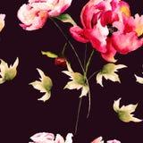 Άνευ ραφής σχέδιο με τα peony λουλούδια Στοκ φωτογραφία με δικαίωμα ελεύθερης χρήσης