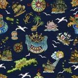 Άνευ ραφής σχέδιο με την έννοια περιπετειών πειρατών, νησιά θησαυρών, παλαιά πλέοντας σκάφη, ναυτικά σύμβολα στο μπλε διανυσματική απεικόνιση