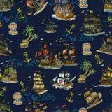 Άνευ ραφής σχέδιο με την έννοια περιπετειών πειρατών, παλαιά sailboats, την άγκυρα, την εγγραφή και το νησί θησαυρών στο μπλε ελεύθερη απεικόνιση δικαιώματος