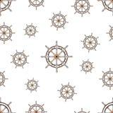 Άνευ ραφής σχέδιο με την εικόνα του τιμονιού την παγκόσμια θαλάσσια ημέρα Στοκ Εικόνες