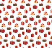 Άνευ ραφής σχέδιο με την εικόνα των κιβωτίων δώρων Κιβώτιο δώρων σχεδίων για την τυπωμένη ύλη υφάσματος, τυλίγοντας έγγραφο κιβωτ ελεύθερη απεικόνιση δικαιώματος