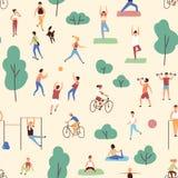 Άνευ ραφής σχέδιο με την εκτέλεση ανδρών και γυναικών φυσική ή αθλητικές δραστηριότητες στο πάρκο Σκηνικό με την υπαίθρια ικανότη απεικόνιση αποθεμάτων