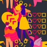 Άνευ ραφής σχέδιο με την επίπεδη απεικόνιση ερωτευμένων κομμάτων ανθρώπων νέου στοκ εικόνα