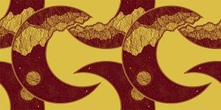 Άνευ ραφής σχέδιο με την ημισέληνο φεγγαριών πλανητών απεικόνιση αποθεμάτων