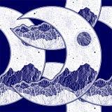 Άνευ ραφής σχέδιο με την ημισέληνο φεγγαριών πλανητών ελεύθερη απεικόνιση δικαιώματος