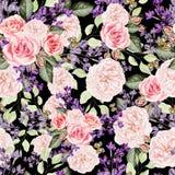 Άνευ ραφής σχέδιο με την πασχαλιά watercolor και τα λουλούδια τριαντάφυλλων Στοκ φωτογραφία με δικαίωμα ελεύθερης χρήσης