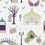 Άνευ ραφής σχέδιο με με την πύλη, τη μεταφορά, το μονόκερο, το φανάρι, τα φτερά, το στήθος, τα πουλιά και τις πεταλούδες Θέμα παρ απεικόνιση αποθεμάτων