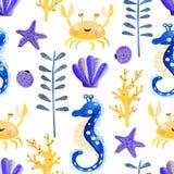 Άνευ ραφής σχέδιο με την υποβρύχια ζωή watercolor ελεύθερη απεικόνιση δικαιώματος