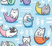 Άνευ ραφής σχέδιο με τη γοργόνα γατών στο ύφος kawaii επίσης corel σύρετε το διάνυσμα απεικόνισης ελεύθερη απεικόνιση δικαιώματος