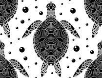 Άνευ ραφής σχέδιο με τη γραπτή σκιαγραφία μιας θάλασσας άποψης και των φυσαλίδων χελωνών τοπ στο άσπρο υπόβαθρο o απεικόνιση αποθεμάτων