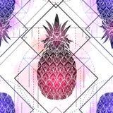 Άνευ ραφής σχέδιο με τη μυστική απεικόνιση των ανανάδων με ένα σχέδιο περιγράμματος και ρόδινους παφλασμούς watercolor Σύσταση με απεικόνιση αποθεμάτων