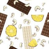Άνευ ραφής σχέδιο με τη σοκολάτα, τον ανανά και τα καρύδια διανυσματική απεικόνιση