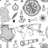 Άνευ ραφής σχέδιο με τη σφαίρα, την πυξίδα, τον παγκόσμιο χάρτη και το ανεμολόγιο ελεύθερη απεικόνιση δικαιώματος