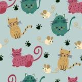 Άνευ ραφής σχέδιο με τη χαριτωμένα γάτα και το ποντίκι απεικόνιση αποθεμάτων