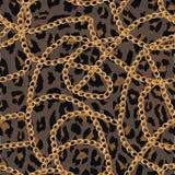 Άνευ ραφής σχέδιο με τη χρυσή αλυσίδα στο δέρμα, τη ζώνη και τα μαργαριτάρια lepard απεικόνιση ελεύθερη απεικόνιση δικαιώματος