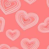 Άνευ ραφής σχέδιο με τις άσπρες καρδιές στο ρόδινο υπόβαθρο Ρομαντική ταπετσαρία, κλωστοϋφαντουργικά προϊόντα, ιματισμός, τυλίγον ελεύθερη απεικόνιση δικαιώματος