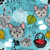 Άνευ ραφής σχέδιο με τις έξυπνες γάτες στο ύφος doodle Στοκ Εικόνες