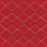 Άνευ ραφής σχέδιο με τις βελονιές περιγράμματος των rhombuses στο κόκκινο υπόβαθρο Η σύσταση του υφάσματος και του καρό   διανυσματική απεικόνιση
