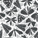 Άνευ ραφής σχέδιο με τις διακοσμητικές πεταλούδες, σκώρος ελεύθερη απεικόνιση δικαιώματος