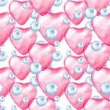 Άνευ ραφής σχέδιο με τις καρδιές και τις φυσαλίδες Στοκ Εικόνες