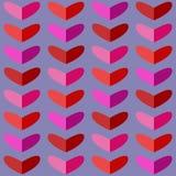 Άνευ ραφής σχέδιο με τις καρδιές στους ρόδινους και κόκκινους τόνους Στοκ Εικόνα