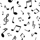 Άνευ ραφής σχέδιο με τις μαύρες σημειώσεις μουσικής για το άσπρο υπόβαθρο επίσης corel σύρετε το διάνυσμα απεικόνισης απεικόνιση αποθεμάτων