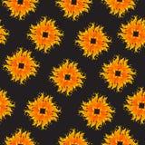 Άνευ ραφής σχέδιο με τις μορφές θερινών ήλιων Διανυσματική απεικόνιση σε ένα μαύρο backgroud Στοκ Φωτογραφίες