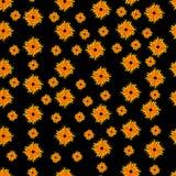 Άνευ ραφής σχέδιο με τις μορφές θερινών ήλιων Διανυσματική απεικόνιση σε ένα μαύρο υπόβαθρο Στοκ Εικόνα