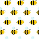 Άνευ ραφής σχέδιο με τις πετώντας μέλισσες σε ένα άσπρο υπόβαθρο ελεύθερη απεικόνιση δικαιώματος