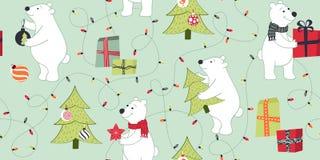 Άνευ ραφής σχέδιο με τις πολικές αρκούδες στο αναδρομικό ύφος ελεύθερη απεικόνιση δικαιώματος