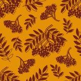 Άνευ ραφής σχέδιο με τις σκιαγραφίες των μούρων και των φύλλων σε ένα κίτρινο υπόβαθρο Στοκ φωτογραφία με δικαίωμα ελεύθερης χρήσης
