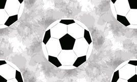 Άνευ ραφής σχέδιο με τις σφαίρες ποδοσφαίρου και τους παφλασμούς watercolor στο άσπρο υπόβαθρο Διανυσματική σύσταση ελεύθερη απεικόνιση δικαιώματος