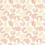 Άνευ ραφής σχέδιο με τις φέτες γαρίδων και λεμονιών διανυσματική απεικόνιση