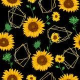 Άνευ ραφής σχέδιο με τις χρυσές polygonal μορφές και ηλίανθοι στο ύφος watercolor διανυσματική απεικόνιση