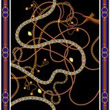Άνευ ραφής σχέδιο με τις χρυσούς αλυσίδες, τις ζώνες και τους πολύτιμους λίθους Διανυσματικό μαντίλι για την τυπωμένη ύλη μόδας,  ελεύθερη απεικόνιση δικαιώματος