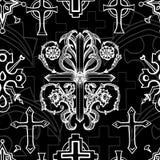 Άνευ ραφής σχέδιο με τον άσπρο μπαρόκ σταυρό φαντασίας στο Μαύρο απεικόνιση αποθεμάτων