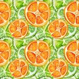 Άνευ ραφής σχέδιο με τον ασβέστη και το πορτοκάλι ελεύθερη απεικόνιση δικαιώματος