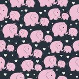 Άνευ ραφής σχέδιο με τον ελέφαντα morher και μωρών Στοκ εικόνες με δικαίωμα ελεύθερης χρήσης