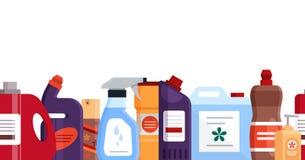 Άνευ ραφής σχέδιο με τον καθαρισμό των εργαλείων, των καθαριστικών και απολυμαντικών προϊόντων, οικιακός εξοπλισμός για την πλύση απεικόνιση αποθεμάτων