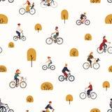 Άνευ ραφής σχέδιο με τους ανθρώπους που οδηγούν τα ποδήλατα στο πάρκο φθινοπώρου με τα δέντρα Σκηνικό με τους άνδρες και τις γυνα ελεύθερη απεικόνιση δικαιώματος