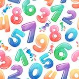 Άνευ ραφής σχέδιο με τους αριθμούς και τα πυροτεχνήματα κινούμενων σχεδίων Καραμέλα ουράνιων τόξων και στιλπνά αστεία σύμβολα κιν ελεύθερη απεικόνιση δικαιώματος