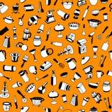 Άνευ ραφής σχέδιο με τους διαφορετικούς τύπους cookware στοκ φωτογραφία