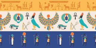 Άνευ ραφής σχέδιο με τους Θεούς, τις θεότητες και τα πλάσματα από την αρχαίες αιγυπτιακές μυθολογία και τη θρησκεία, hieroglyphs, διανυσματική απεικόνιση