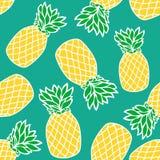 Άνευ ραφής σχέδιο με τους κίτρινους ανανάδες απεικόνιση αποθεμάτων