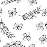 Άνευ ραφής σχέδιο με τους κλάδους των φύλλων και των λουλουδιών στο ύφος του σκίτσου Ζωηρόχρωμη απεικόνιση στο λευκό διανυσματική απεικόνιση