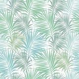 Άνευ ραφής σχέδιο με τους κλάδους φοινικών των πράσινων και χρωμάτων aquamarine Στοκ Εικόνα
